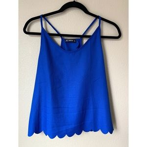 ✨ NWOT, SHEIN, Blue Scalloped Tank - Size Small